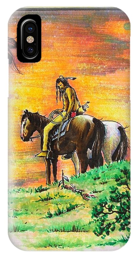 Native IPhone X Case featuring the painting Hi Lighter Pen Painting 2 by Jimmy Smith