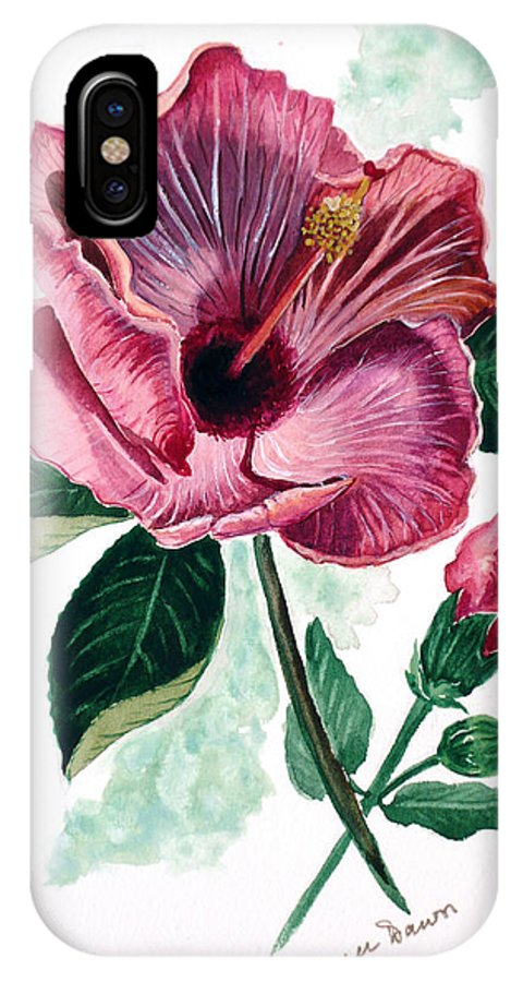 Flora Painting L Hibiscus Painting Pink Flower Painting Greeting Card Painting IPhone X Case featuring the painting Hibiscus Dusky Rose by Karin Dawn Kelshall- Best