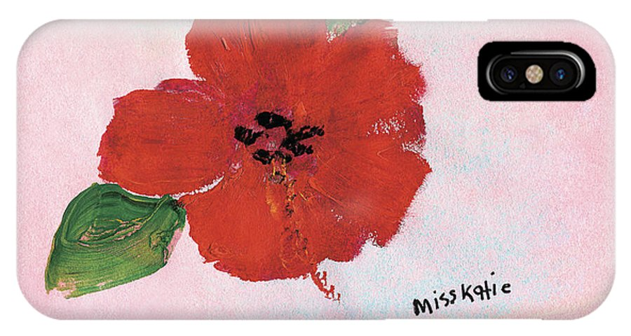 Art IPhone X Case featuring the painting Hibiscus by Katie OBrien - Printscapes