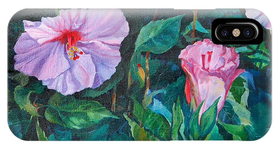 Hibiscus IPhone X / XS Case featuring the painting Hibiscus by Michael McDougall