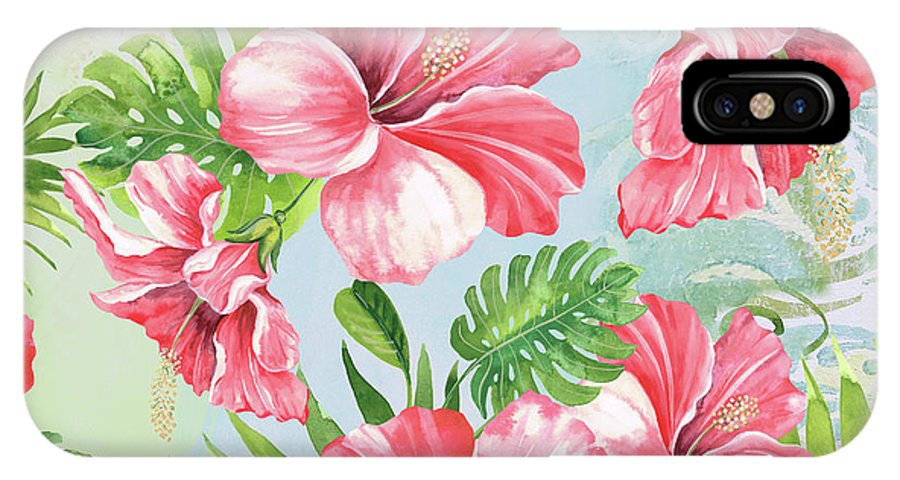 Hibiscus IPhone X Case featuring the painting Hibiscus Paradise-jp3966 by Jean Plout
