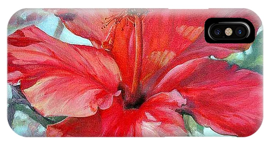 Floral Painting IPhone Case featuring the painting Hibiscus Rouge by Muriel Dolemieux