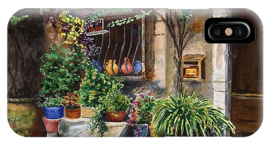 Courtyard IPhone X / XS Case featuring the painting Hidden Courtyard by Karen Fleschler