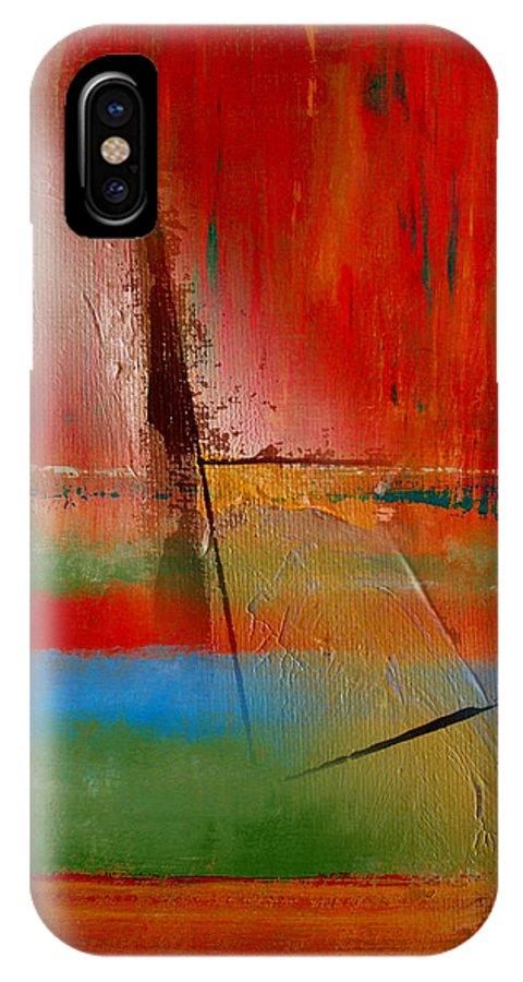 Abstract IPhone X Case featuring the painting Hidden Inside The Lines by Ruth Palmer