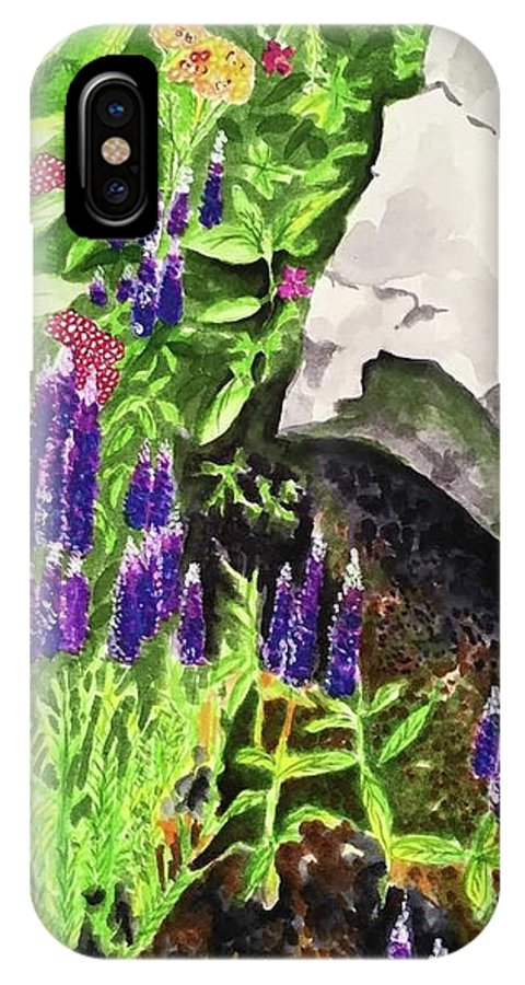 Landscape IPhone X Case featuring the painting Hidden Treasures by Judy Swerlick