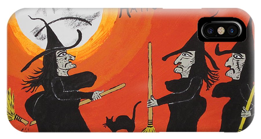 Halloween IPhone X Case featuring the painting Hide The Halloween Candy by Jeffrey Koss