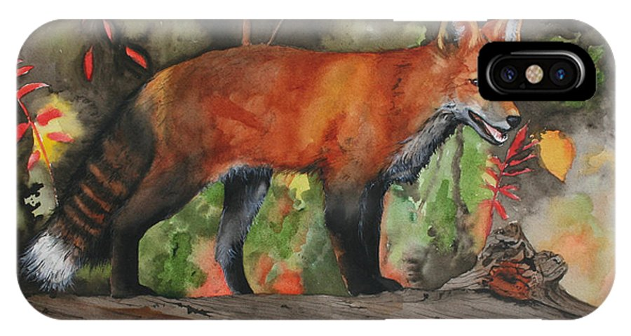 Fox IPhone X Case featuring the painting Hiding In Plain Sight by Jean Blackmer