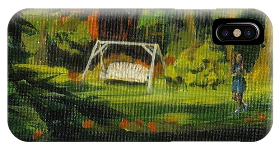 Swing IPhone X Case featuring the painting Hiedi's Swing by Claire Gagnon
