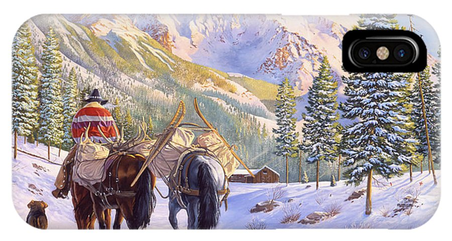 Horses IPhone X / XS Case featuring the painting High Country by Howard Dubois