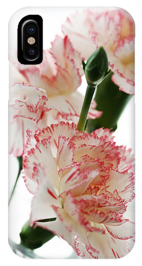 High IPhone X / XS Case featuring the photograph High Key Pink And White Carnation Floral by Kathy Clark