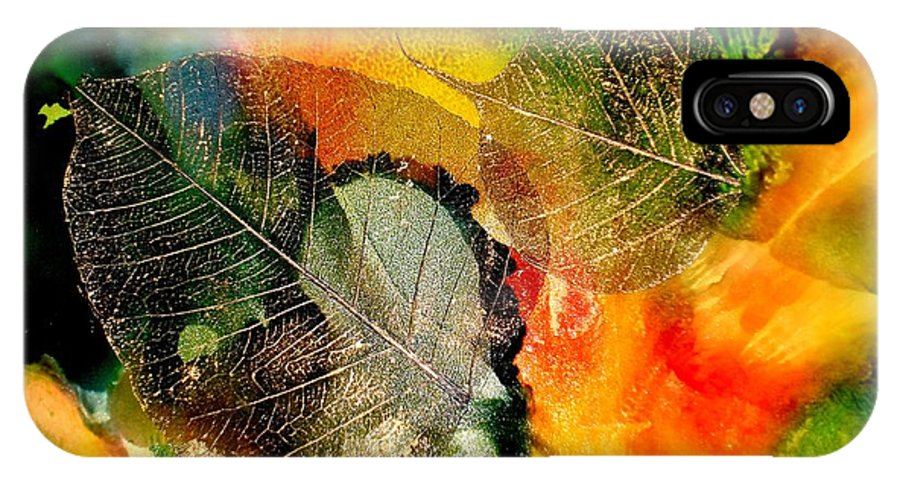 Abstract IPhone X Case featuring the mixed media High On Nature by Susan Kubes