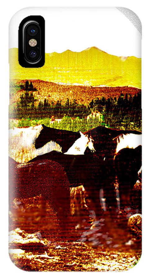 Mustangs IPhone X Case featuring the digital art High Plains Horses by Seth Weaver