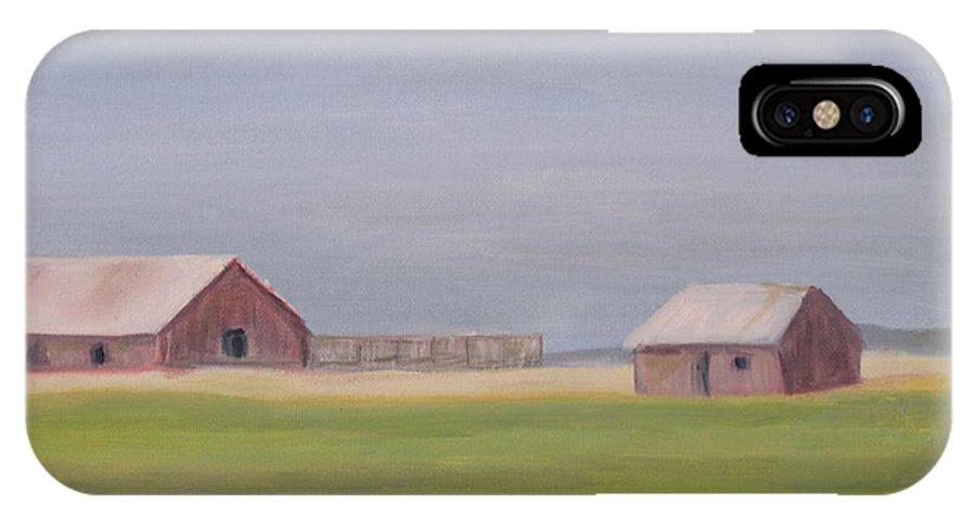 Landscape Plains Barn IPhone X Case featuring the painting High Plains by Patricia Caldwell