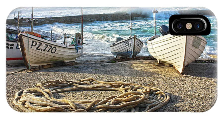 Harbor IPhone X Case featuring the photograph High Tide In Sennen Cove Cornwall by Terri Waters