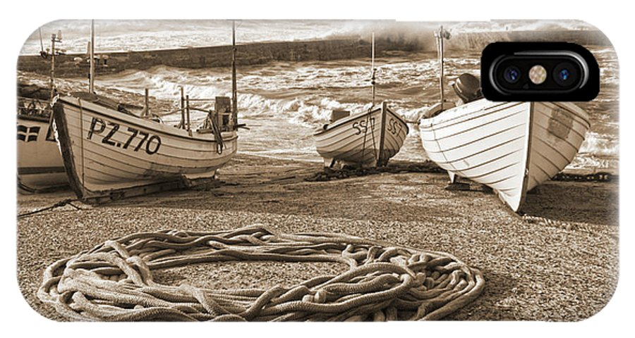 Harbor IPhone X / XS Case featuring the photograph High Tide In Sennen Cove Sepia by Terri Waters