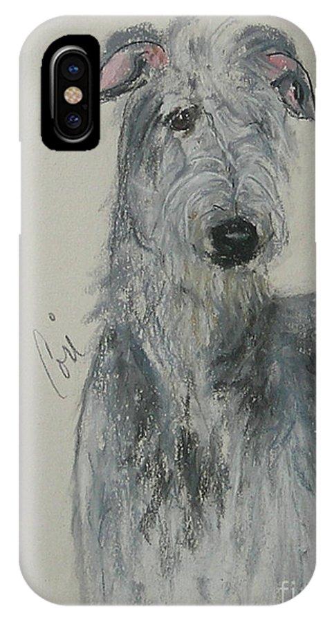 Scottish Deerhound IPhone X Case featuring the drawing Highland Hunter by Cori Solomon