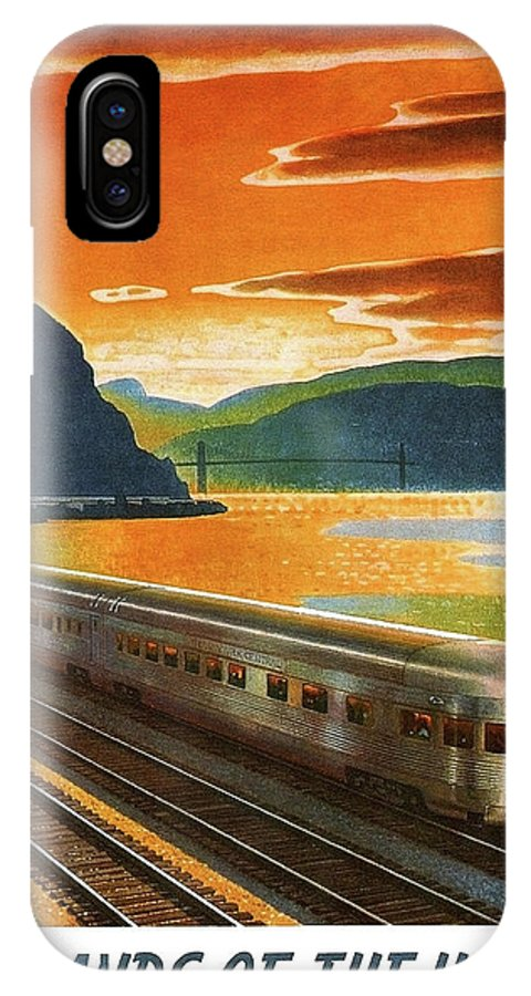 Highlands IPhone X Case featuring the painting Highlands Of Hudson, Railway, Train by Long Shot