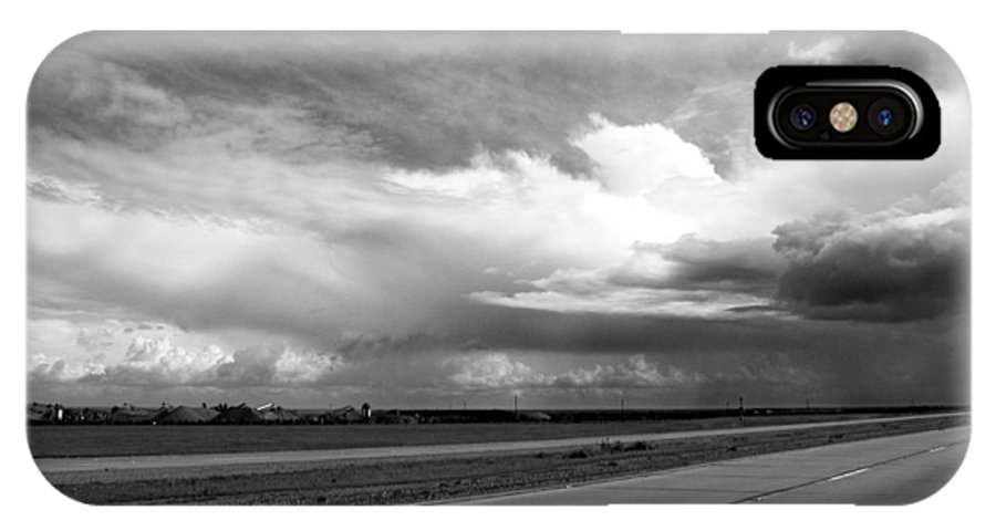 Black And White IPhone X Case featuring the photograph Highway 5 Clouds by John Norman Stewart