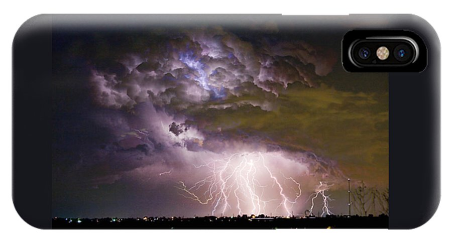 Colorado Lightning IPhone X Case featuring the photograph Highway 52 Storm Cell - Two And Half Minutes Lightning Strikes by James BO Insogna
