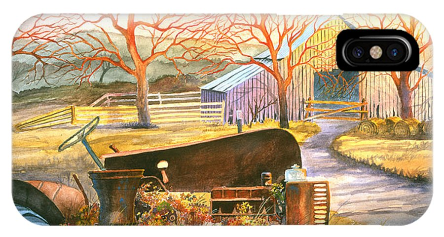 Old Tractor IPhone Case featuring the painting Hill Country Memories by Howard Dubois