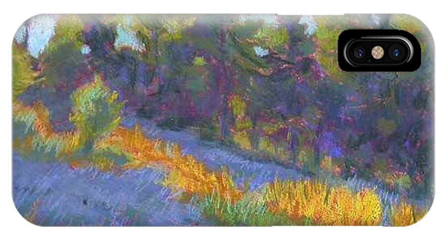 View Of Hillside And Evening Shadows IPhone X Case featuring the painting Hillside Shadows by Julie Mayser