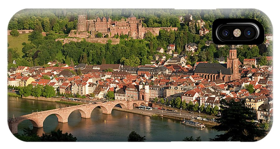 Color Image IPhone X Case featuring the photograph Hilltop View - Heidelberg Castle by Greg Dale