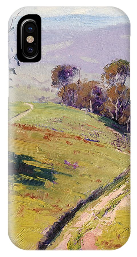 Rural IPhone X Case featuring the painting Hilly Landscape Lithgow by Graham Gercken
