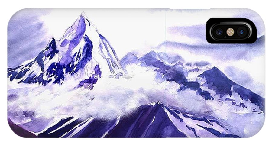 Landscape IPhone X Case featuring the painting Himalaya by Anil Nene