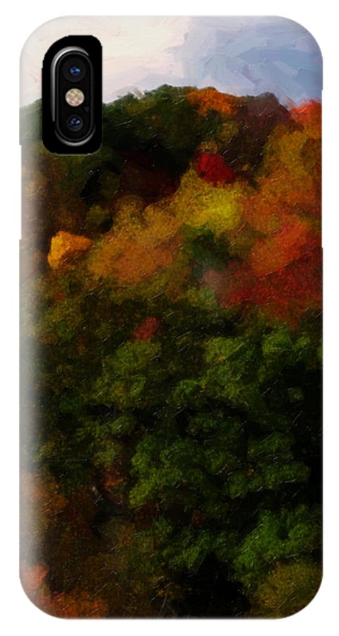 Fall IPhone X Case featuring the painting Hint Of Fall Color Painting by Teresa Mucha