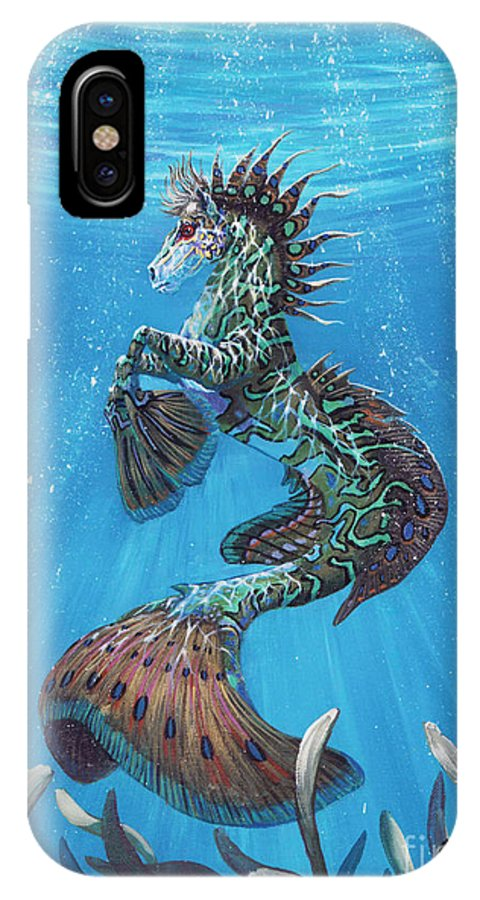Seahorse IPhone Case featuring the painting Hippocampus by Stanley Morrison