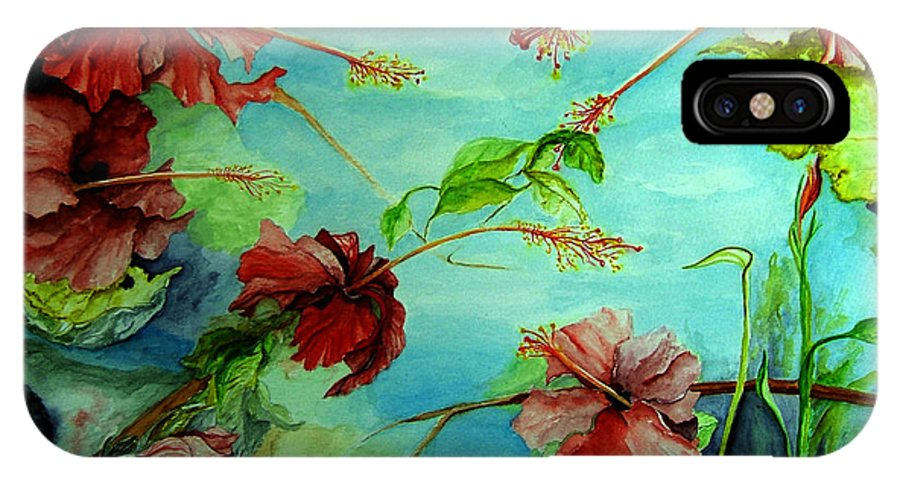 Red IPhone X / XS Case featuring the painting Hiroko's Hibiscus 4 by Rachel Lowry