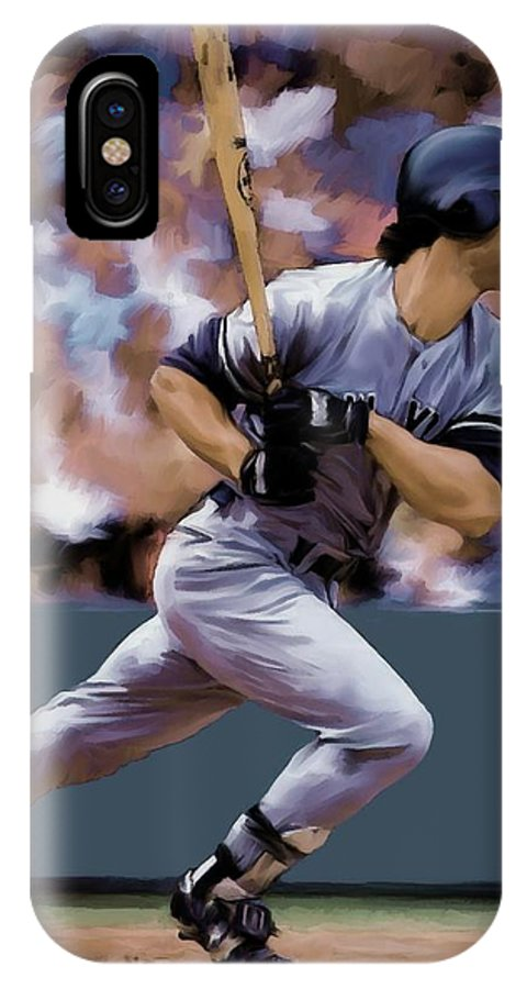 Don Mattingly IPhone X / XS Case featuring the painting Hit Man Don Mattingly by Iconic Images Art Gallery David Pucciarelli