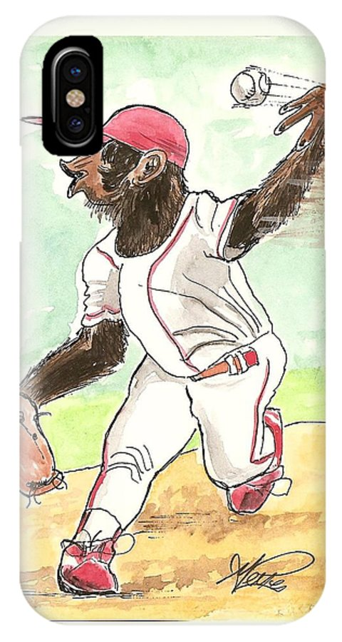 Baseball IPhone X Case featuring the drawing Hit This by George I Perez