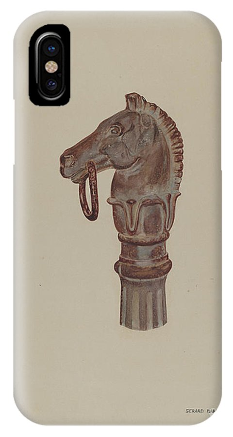 IPhone X Case featuring the drawing Hitching Post by Gerard Barnett