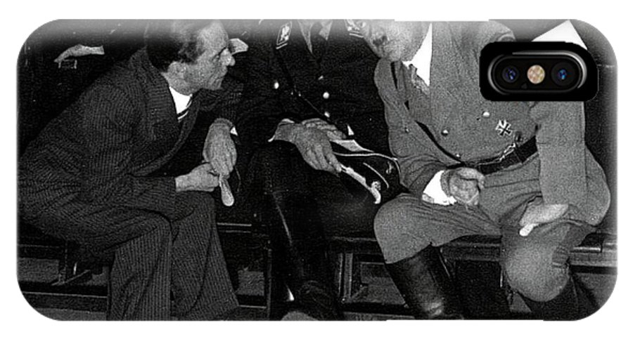 Hitler Conferring With Joseph Goebbels Circa 1936 Color Added 2016 IPhone X Case featuring the photograph Hitler Conferring With Joseph Goebbels Circa 1936 Color Added 2016 by David Lee Guss