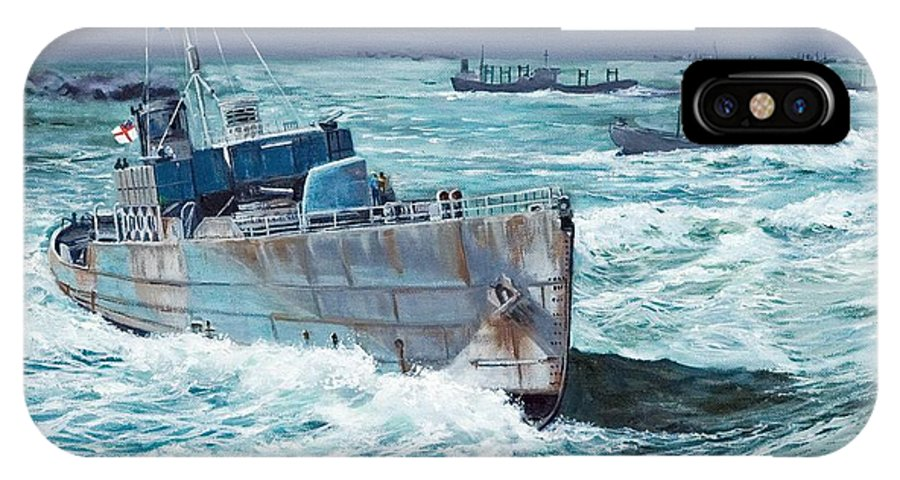 Hms Compass Rose IPhone X Case featuring the painting Hms Compass Rose Escorting North Atlantic Convoy by Glenn Secrest