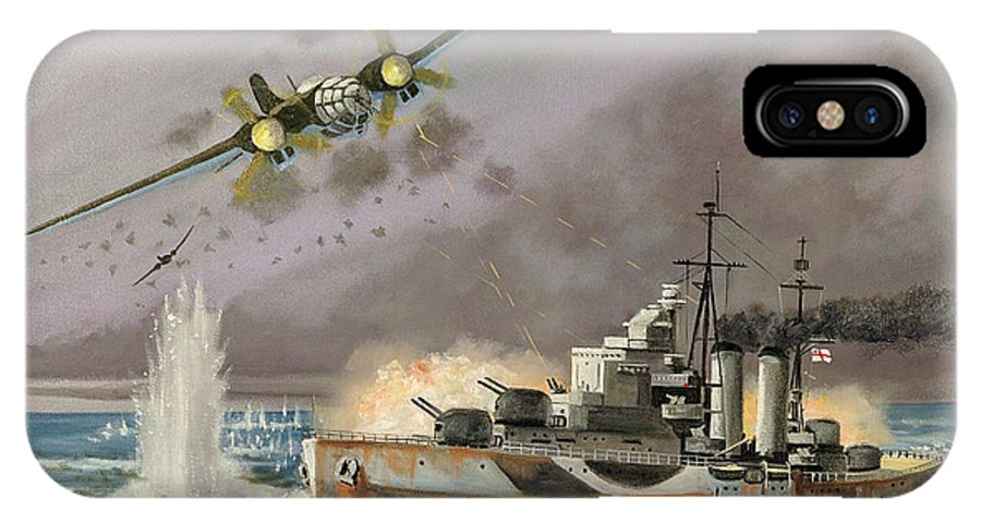 Ships That Never Were IPhone Case featuring the painting Hms Ulysses Attacked By Heinkel IIis Off North Cape by Glenn Secrest