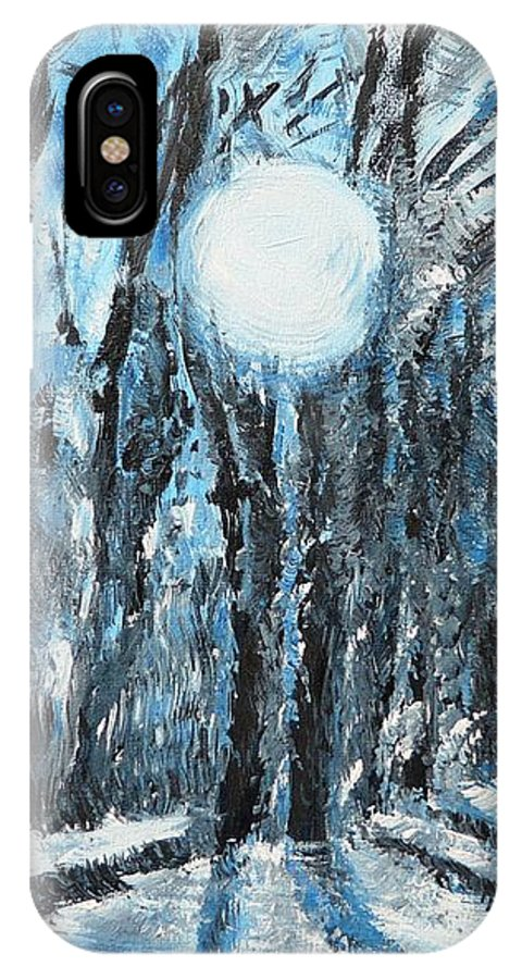 Landscape IPhone X Case featuring the painting Hochleite In January by Valerie Ornstein