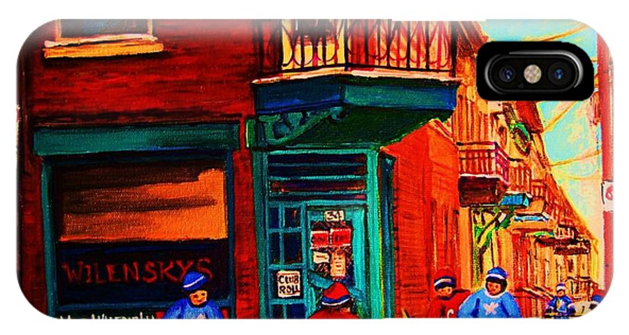 Wilenskys IPhone X Case featuring the painting Hockey At Wilenskys Corner by Carole Spandau