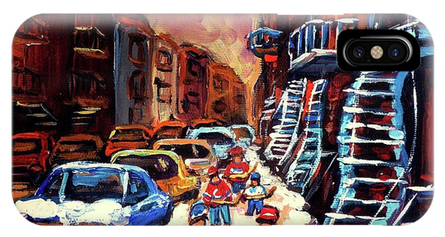 Montreal IPhone X Case featuring the painting Hockey Paintings Of Montreal St Urbain Street Winterscene by Carole Spandau
