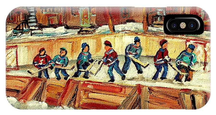 Hockey Rinks In Montreal IPhone X Case featuring the painting Hockey Rinks In Montreal by Carole Spandau