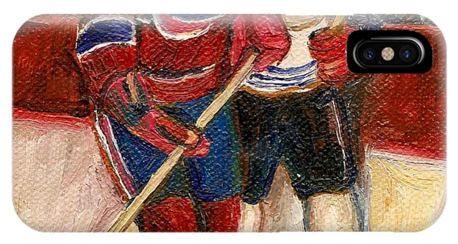 Hockey IPhone X Case featuring the painting Hockey Stars At The Forum by Carole Spandau