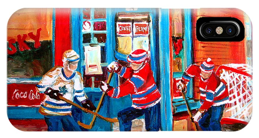 Wilenskys IPhone X Case featuring the painting Hockey Sticks In Action by Carole Spandau