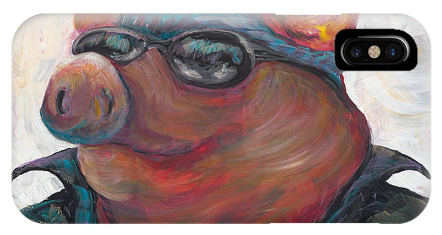 Hog IPhone X Case featuring the painting Hogley Davidson by Nadine Rippelmeyer