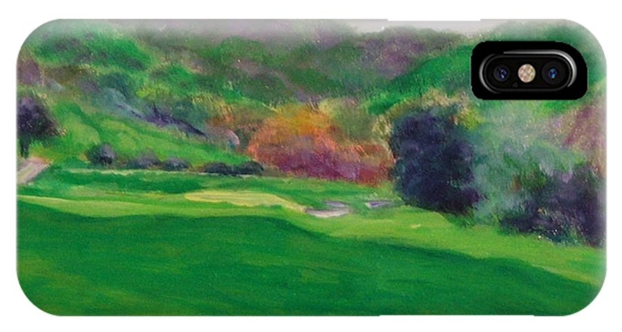 Golf IPhone X Case featuring the painting Hole 15 Spitt's Canyon by Shannon Grissom