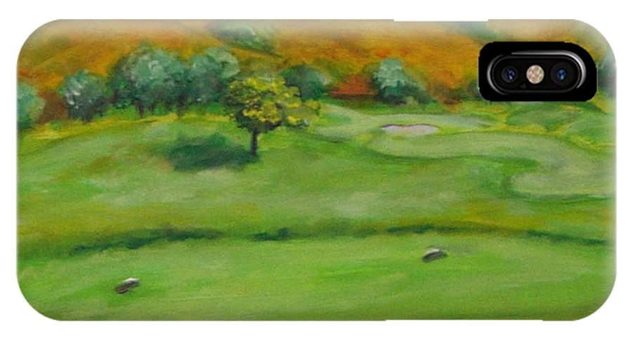 Golf IPhone X Case featuring the painting Hole 4 Outward Bound by Shannon Grissom
