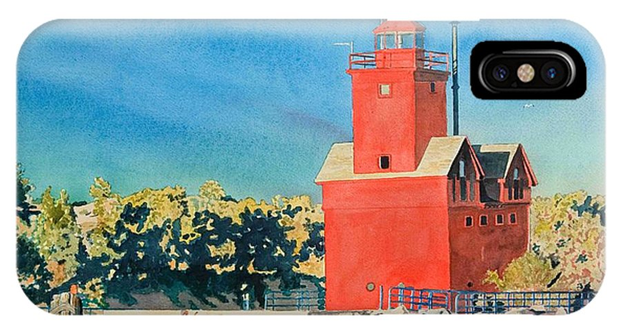Holland IPhone X Case featuring the painting Holland Lighthouse - Big Red by LeAnne Sowa