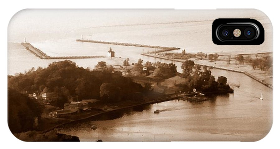 Holland IPhone Case featuring the photograph Holland Michigan Harbor Big Red Aerial Photo by Michelle Calkins