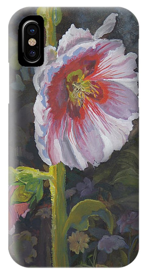 Flower IPhone X Case featuring the painting Hollyhock by Heather Coen