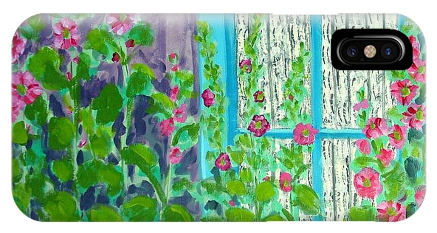 Hollyhocks IPhone X Case featuring the painting Hollyhock Surprise by Laurie Morgan